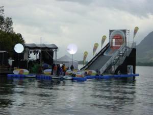 Siemens lake jump pontoon ski-jump